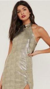 Holiday dress bodycon NWT gold foiled metallic